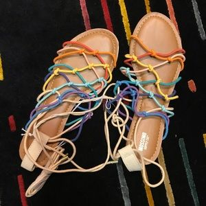 BNWT Mossimo rainbow gladiator sandals size 10